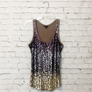 Express Racerback Brown/Bronze Ombre Sequined Tank